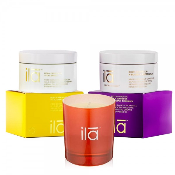 Candle, Body Scrub for a Blissful Experience & Body Cream for Vital Energy Trio