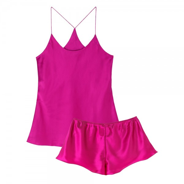 Bella Silk Sleep Set - Cerise | Olivia von Halle | Look Beautiful Products