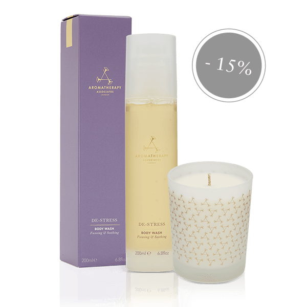 Aromatherapy Ass De-Stress Body Wash & Relax Candle Duo